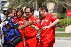 Rubens Barrichello meets his former mechanics at Ferrari