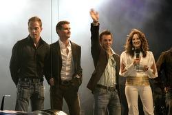 Robert Doornbos, David Coulthard and Christian Klien on stage
