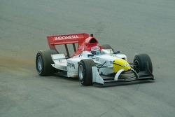 Team Indoesia driver Ananda Mikola about to lose control