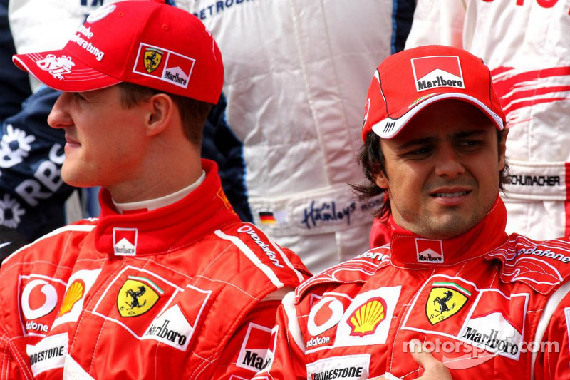 Drivers photoshoot: Michael Schumacher and Fernando Alonso