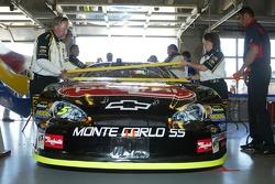 Kyle Busch's car in the garage