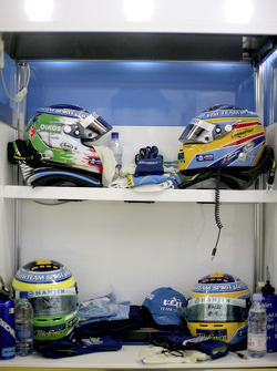 Helmets of Giancarlo Fisichella and Fernando Alonso