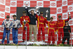 GT2 podium: class winners Matteo Bobbi and Jaime Melo, with second place Emmanuel Collard and Luca Riccitelli, and third place Mika Salo and Rui Aguas