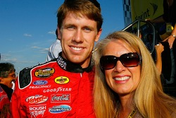 Carl Edwards poses for a photo with his mom, Nancy Sterling