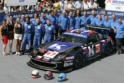 Peter Kox, Robert Pergl, Alexei Vasiliev and Menx team members Convers pose with the Menx Team Ferrari 550 Maranello