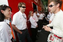 Tom Kristensen shares a laugh with Audi Sport Team Joest team members