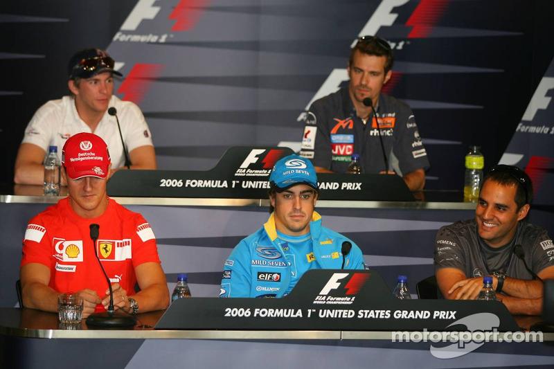 Conférence de presse de la FIA : Michael Schumacher, Fernando Alonso, Juan Pablo Montoya et Scott Speed