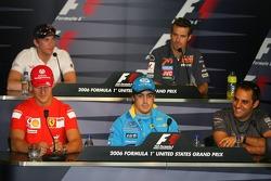 Conferencia de prensa de la FIA: Michael Schumacher, Fernando Alonso, Juan Pablo Montoya y Scott Speed