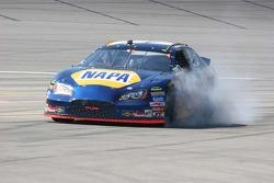 Michael Waltrip locks up the brakes entering the pitlane