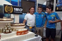 Elf celebrate 150 Grand prix wins with Fernando Alonso and Giancarlo Fisichella