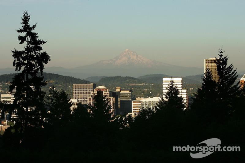 Une vue du centre-ville de Portland du Washington Park