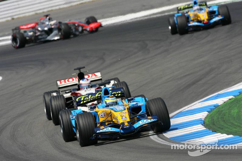 Giancarlo Fisichella y Jenson Button
