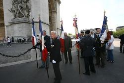 A memorial ceremony at the Arc de Triomphe