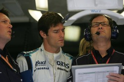 Sam Michael, Mark Webber and Frank Dernie