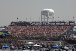 A huge crowd watches early race action