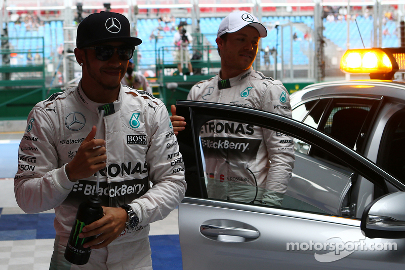Pole winner Lewis Hamilton, Mercedes AMG F1 W06 and second place Nico Rosberg, Mercedes AMG F2