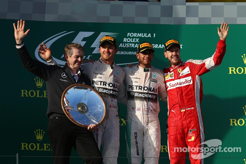 Podium: Second place Nico Rosberg, Mercedes AMG F1, winner Lewis Hamilton, Mercedes AMG F1 and third place Sebastian Vettel, Ferrari