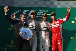 Podium: Second place Nico Rosberg, Mercedes AMG F1, winner Lewis Hamilton, Mercedes AMG F1 and third place Sebastian Vettel, Ferrari