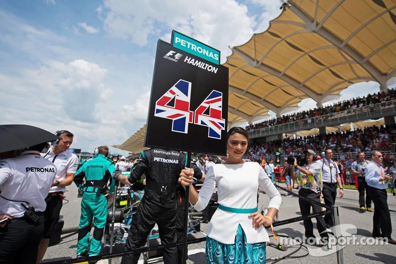 Grid girl for Lewis Hamilton, Mercedes AMG F1
