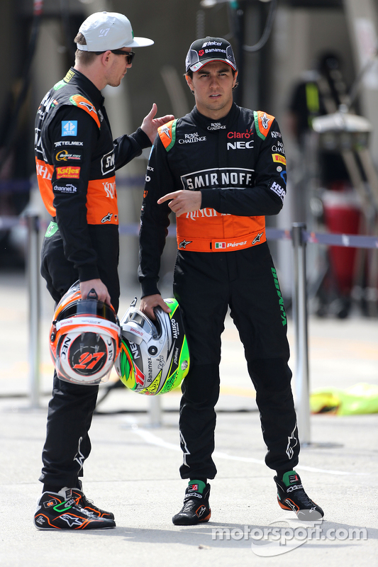 Sergio Perez, Sahara Force India, dan Nico Hulkenberg, Sahara Force India