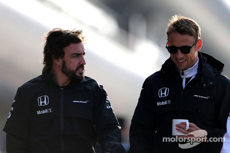 Fernando Alonso, McLaren-Honda, und Jenson Button, McLaren-Honda