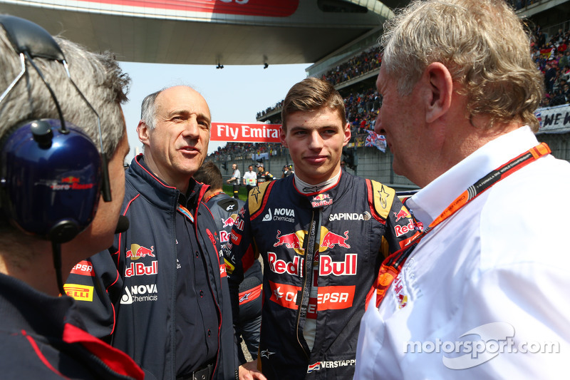 Franz Tost, Scuderia Toro Rosso Team Principal with Max Verstappen, Scuderia Toro Rosso and Dr Helmut Marko, Red Bull Motorsport Consultant on the grid