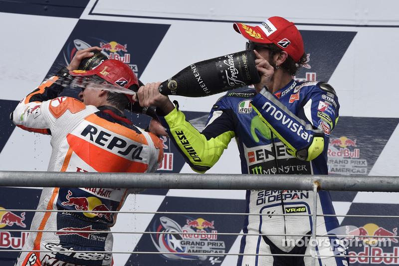 Podium: third place Valentino Rossi, Yamaha Factory Racing and winner Marc Marquez, Repsol Honda Team