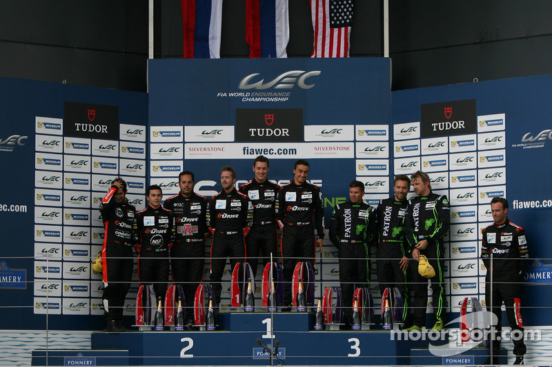 LMP2 podium: winners Roman Rusinov, Julien Canal, Sam Bird, second place Gustavo Yacaman, Pipo Derani, Ricardo Gonzalez, third place Scott Sharp, Ryan Dalziel, David Heinemeier Hansson