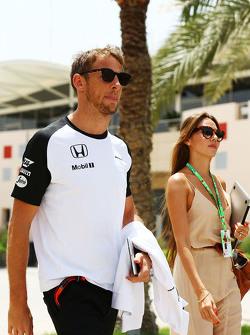 Jenson Button, McLaren avec sa femme Jessica Button.