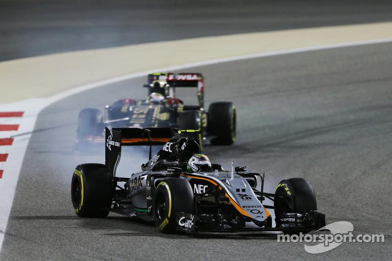 Sergio Perez, Sahara Force India F1 VJM08, mit Verbremser