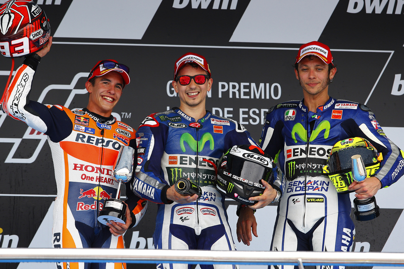 Podium: second place Marc Marquez, winner Jorge Lorenzo and third place Valentino Rossi