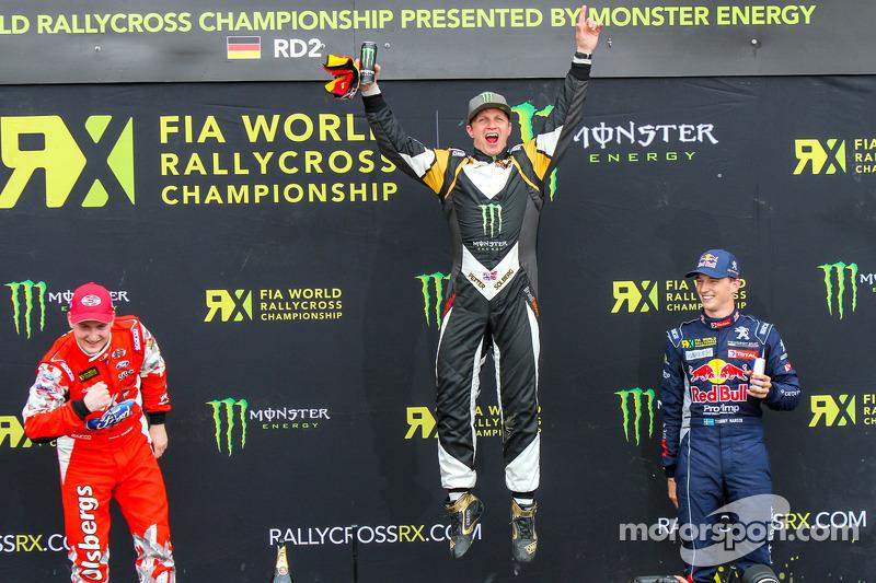 Podium: winner Petter Solberg, second place Reinis Nitiss, third place Timmy Hansen