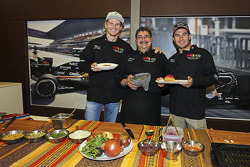 (From left to right): Nico Hulkenberg Sahara Force India F1, Chef Rubén Boldo Villegas and Sergio Pérez Sahara Force India F1 cooking Mexican food in their teams motor home.