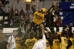 Race winner Matt Kenseth celebrates