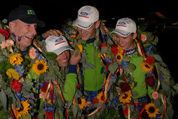 Tracy Krohn, Nic Jonsson, Jorg Bergmeister and Colin Braun celebrate