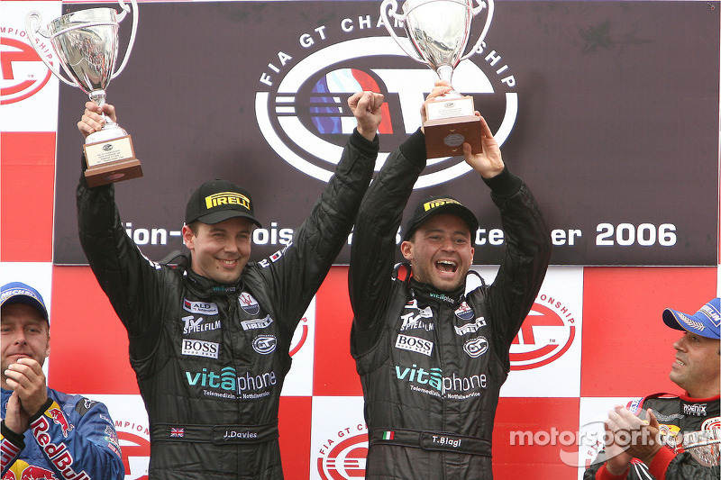 GT1 podium: class and overall winners Jamie Davies and Thomas Biagi