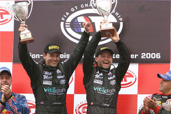 GT1 podium: class and overall winners Jamie Davies and Thomas Biagi