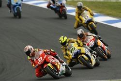 Marco Melandri leads Valentino Rossi