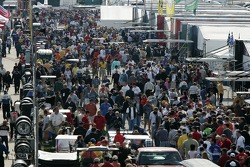 A big crowd in the paddock during pre-race