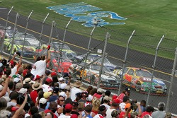 David Gilliland and Dale Jarrett lead the field to the green flag
