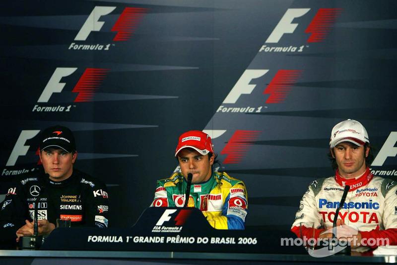 Conférence de presse de la FIA : l'auteur de la pole Felipe Massa avec Kimi Räikkönen et Jarno Trulli