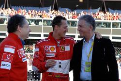 Jean Todt, Michael Schumacher and Piero Ferrari