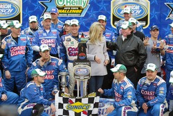Victory lane: race winner Kevin Harvick celebrates with wife DeLana and Richard Childress