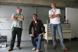 Dirk Muller with the fathers of Sebastian Vettel and Sebastien Buemi