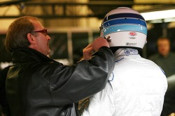 Mika Hakkinen, test driver for McLaren Mercedes with his manager Didier Coton