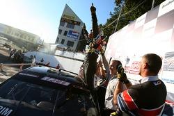 Race winner Andy Pilgrim celebrates