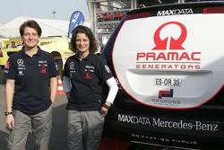 Ellen Lohr and Antonia de Roissard with the MAXDATA Mercedes-Benz M-Class prototype