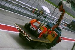 Engine failure at the car of Lewis Hamilton, McLaren Mercedes
