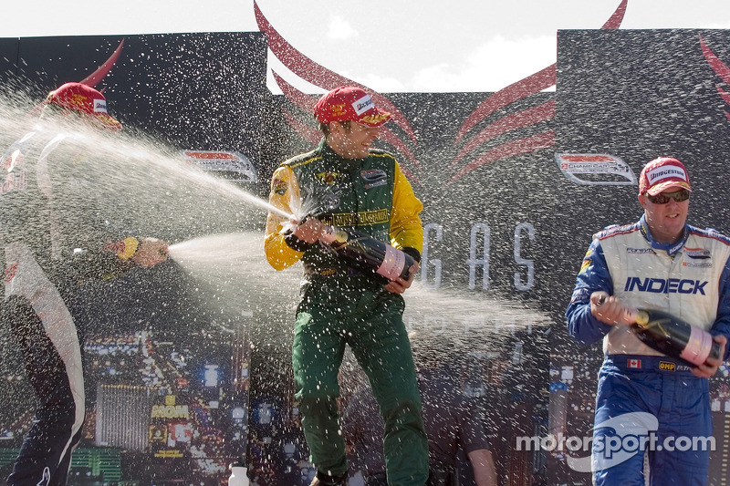 Paul Tracy, Robert Doornbos and Will Power celebrate