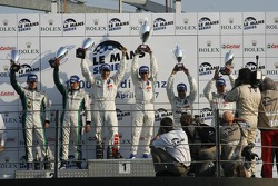 LMP1 podium: class and overall winners Marc Gene and Nicolas Minassian, second place Emmanuel Collard and Jean-Christophe Boullion, third place Pedro Lamy and Stéphane Sarrazin